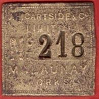 ** PLAQUE  J. H.  CARTSIDE  LIMITEUR  N° 218  -  MALAUNAY  WORKS ** - Francia
