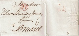 """Lettre De ROTTERDAM Du 18 NOVEMBER 1774 à BRUSSEL + Port """"6"""" + """"4"""" Barré + Marque """"H"""" En Rouge - 1714-1794 (Pays-Bas Autrichiens)"""
