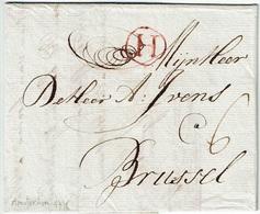 """Lettre De AMSTERDAM Du 11 Maart 1776 à BRUSSEL + Port """"6"""" + Marque """"H"""" En Rouge - 1714-1794 (Pays-Bas Autrichiens)"""