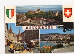 U4428 Postcard NEUCHATEL -LA COLLEGIALE, LE CHATEAU, LES REMPARTS + STEMMA _ ED LINDA COLOR 9338 - NE Neuchâtel