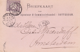 Netherlands 1895 J.J.Frenk  Rotterdam To Amsterdam Postcard - Postal Stationery