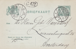 Netherlands 1907 Groningen To Amsterdam 2.5c Postal Stationary Postcard - Postal Stationery
