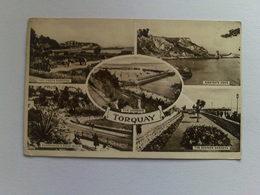 Black And White  Postcard - Multi View, Torquay - Torquay