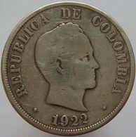 Colombia 50 Centavos 1922 VF Rare - Silver - Colombia