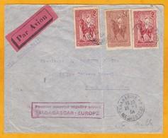 1934 - Enveloppe Par Avion De Tananarive, Madagascar Vers Paris - 1er Courrier Régulier Mada-Europe - Affrt 14f50 - Madagaskar (1889-1960)