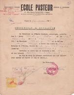 ECOLE PASTEUR Certificat De Scolarité Saigon 1963 Avec Timbre Cochinchine Indochine Vietnam - Diplomi E Pagelle