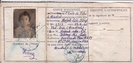 Carte D'identité Scolaire De L'Ecole Des Filles De Giadinh 1950 Indochine Indochina Cochinchine Vietnam Saigon - Documenti Storici