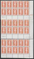 2620 1F. BRIAT ORANGE - 3 DEMI BAS De FEUILLES X 10 - DATES  DIFFERENTES De 1990 - 1989-96 Marianna Del Bicentenario