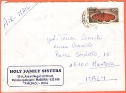 INDIA - 2004 - 15 Butterfly - Airmail - Holy Family Sisters - Viaggiata Da Madurai Per Mantova - India
