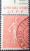 R1934/63 - 1924 - TYPE SEMEUSE LIGNEE - N°199 ☉ BANDE PUBLICITAIRE ☛ CHEVAL VERT J.T.P.F - Advertising