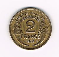 &  FRANKRIJK 2 FRANCS 1938 - France
