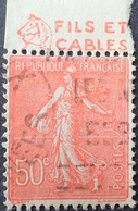 R1934/64 - 1924 - TYPE SEMEUSE LIGNEE - N°199 ☉ BANDE PUBLICITAIRE ☛ FILS ET CABLES - Werbung