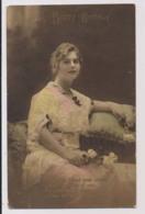 AK27 Birthday Greetings - Pretty Lady In Lace Dress - Birthday