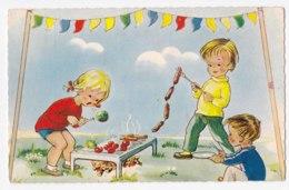AK90 Children - Artist Drawn, Children Having A Barbecue - Children And Family Groups