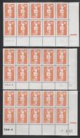 2620 1F. BRIAT ORANGE - 3 DEMI BAS De FEUILLES X 10 - DATES  DIFFERENTES 93/94 - 1989-96 Marianna Del Bicentenario