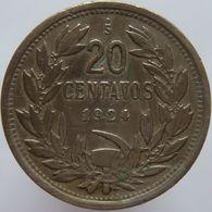 Chile 20 Centavos 1924 VF / XF - Chile
