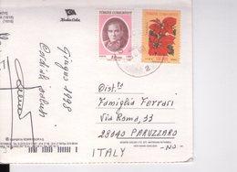 U4441 NICE TURKEY STAMP - TURKIYE CUMHURIYETI AJANS TURK AND FLOWERS ON POSTCARD - FRANCOBOLLO - 1921-... Repubblica