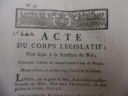 MARAT AUTEUR DU JOURNAL AMI DU ROI ACTE DU CORPS LEGISLATIF SANCTION DU ROI  1792 - Historische Dokumente
