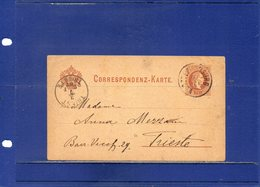 ##(DAN196)- Austria 1882- 2 Kr. Postal Card From Klosterneuburg To Triest - Covers & Documents