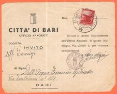 ITALIA - ITALY - ITALIE - 1949 - 3 Democratica - Isolato - Comune Di Bari, Invito Manoscritto - Viaggiata Da Bari Per Ba - 6. 1946-.. Republic