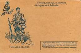040519B - MILITARIA GUERRE 1914 18 FM Illustration FUSILIER MARIN Combattez Souscrivant Emprunt De La Libération YSER - Cartes De Franchise Militaire