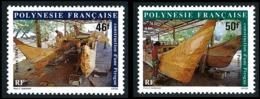 POLYNESIE 1986 - Yv. 266 Et 267 ** SUP  Faciale= 0,81 EUR - Construction D'une Pirogue (2 Val.)  ..Réf.POL23957 - Polynésie Française
