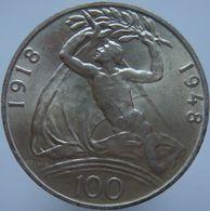 Czechoslovakia 100 Korun 1948 UNC - Silver - Czechoslovakia