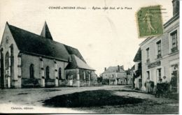 N°72591 -cpa Condé Sur Huisne -église Côté Sud Et La Place- - Frankreich