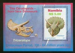 Namibia 1997  Triceratops Dinosours Prehistoric Animals M/s Sc 847 MNH # 371 - Namibia (1990- ...)
