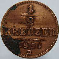 Austria 1/2 Kreuzer 1851 B VF - Autriche