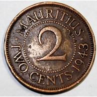 ILE MAURICE - KM 22 - 2 CENTS 1943 SA - GEORGE VI - TB - Mauritius