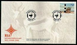 South Africa 1988 Ostrich Industry Anni. Birds Lighthouse Date Stamp Card #16530 - Struisvogels