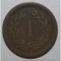 SUISSE - KM 3.1 - 1 CENTIME 1851 - TB - - Svizzera