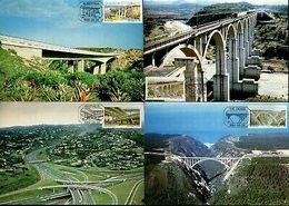 South Africa 1984 Bridges River Railroad Architecture Sc 634-37 Max Cards #16540 - Bridges