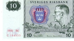 Sweden P.52 10  Kroner  1981 Unc - Svezia