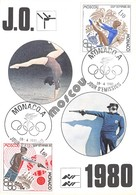 MONACO - XXIIe Jeux Olympiques Moscou - Tir Au Pistolet - Gymnastique - Philatélie Cachets + Timbres - Monaco