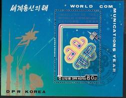 COREA DEL NORD - 1983 ANNO MONDIALE TELECOMUNICAZIONI - FOGLIETTO USATO (  MICHEL  BL152) - Scacchi