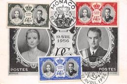 MONACO - Le Couple Princier Le 19 Avril 1956 - Le Prince Rainier III, La Princesse Grace - Philatélie Cachets + Timbres - Palacio Del Príncipe