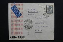 ESPAGNE - Enveloppe Commerciale ( Unica Films ) De Barcelone Pour Paris ( Général Film) En 1933 - L 28748 - 1931-50 Briefe U. Dokumente