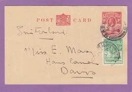 ENTIER POSTAL AVEC AFFRANCHISSEMENT COMPLEMENTAIRE POUR DAVOS. - 1933-1964 Colonie Britannique