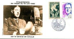 Thème Général De Gaulle - Bureau Temporaire BOURG EN BRESSE - 8 Décembre 1990 - X 1176 - De Gaulle (Generale)