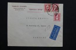 ESPAGNE - Enveloppe Commerciale De Barcelone Pour Paris En 1934 - L 28749 - 1931-50 Briefe U. Dokumente