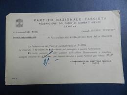 19932) FASCISMO PARTITO NAZIONALE FASCISTA FASCI COMBATTIMENTO GENOVA CASA STUDENTE 1938 - Documenti Storici