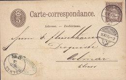 Switzerland Uprated Postal Stationery Ganzsache RAUSCHENBACH Carte-correspondance SCHAFFHAUSEN 1875 COLMAR Elsass - Entiers Postaux
