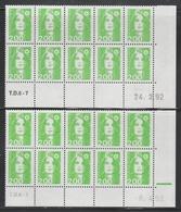 2621 2F. BRIAT VERT CLAIR - 2 DEMI BAS De FEUILLES X 20 - TIRAGES  DIFFÉRENTS (1992) - 1989-96 Marianne Du Bicentenaire