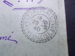 Marcophilie  Cachet Lettre Obliteration -  Facteur Boitier St Amour Bellevue - 1940 (2441) - Postmark Collection (Covers)