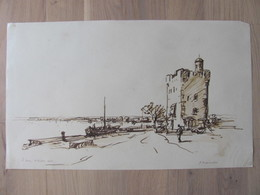 Jacques Traversier 1875 1935 Saint Louis Du Rhone Port Bouches Du Rhone Dessin Encre D'apres - Disegni