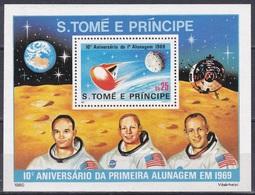 Sao Tome Und Principe 1980 Weltraum Weltall Raumfahrt Space Mondlandung Moonlanding Raumkapsel Armstrong, Bl. 45 ** - São Tomé Und Príncipe