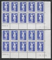 2906 2F. BRIAT BLEU - 2 DEMI BAS De FEUILLES X 10 - TIRAGES  DIFFÉRENTS (95) - 1989-96 Marianne Du Bicentenaire