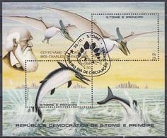 Sao Tome Und Principe 1982 Prähistorische Tiere Fauna Animals Saurier Saurian Pteranodon Stenopterygius, Bl. 98 Gest. - São Tomé Und Príncipe